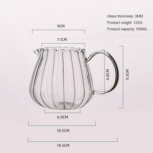 Japanese Stripe Milk Cans Heat-resistantn Glass Jug With Handle Coffee Tea Separator Pull Flower Cup Home Cafe Drinkware | akolzol