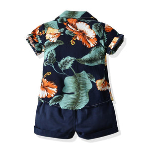 Top and Top Toddler Baby Boys Hawaiian Style Clothes Set Floral Prints Short Sleeve Shirt Pant Casual Suit Newborn Beachwear | akolzol