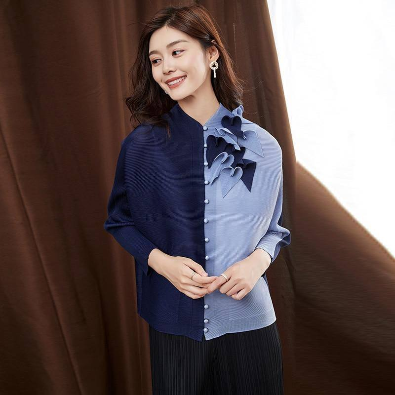2020 autumn three-dimensional tailoring pleated T-shirt with beads long sleeve Korean fashion button up aesthetic flowers tops | akolzol