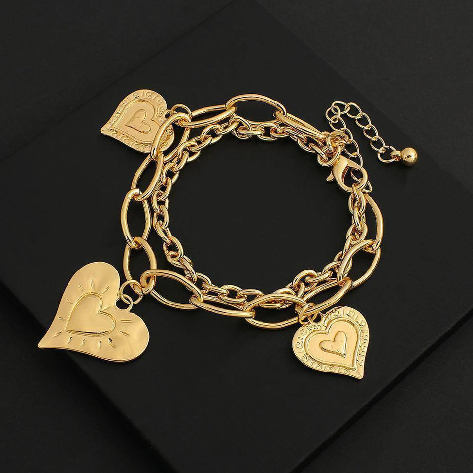 Multilayer Chunky Thick Chain Charm Bracelets for Women Gold Color Metal Heart Pendant Bracelet Valentine's Day Gift | Bracelet, Bracelets, Chain, Charm, Chunky, Color, Day, Flashbuy, for, Gift, Gold, Heart, Metal, Multilayer, Pendant, Thick, Valentines, Women | akolzol
