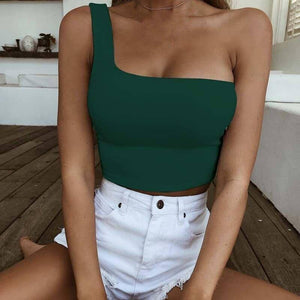 2020 Summer Off Shoulder Tanks Top Women Sexy Crop Tops Ladies Beach Party Tanks Tshirt Female Short Tight Vest for Women | akolzol