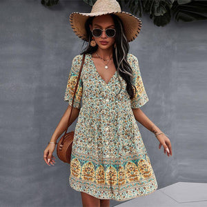 2021 Spring Print Short Dress Women Casual V Neck Bohemian Short Sleeve Dress For Woman Fashion Sexy Summer Dress | akolzol