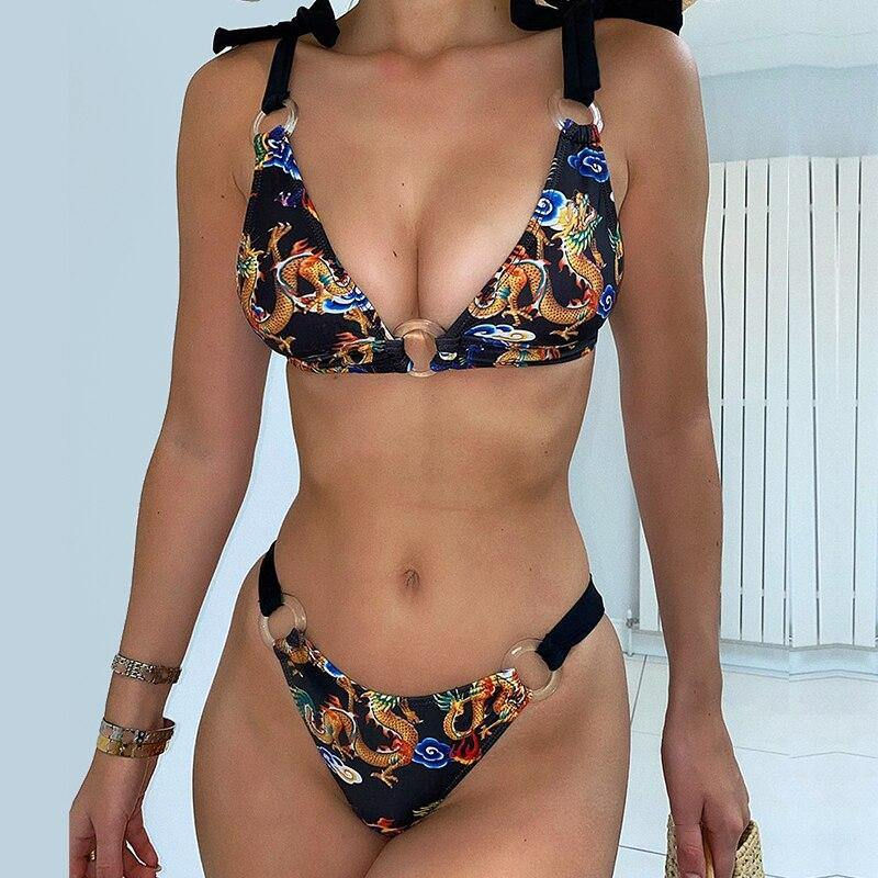 print bikini set 2020 Triangle swimsuit female Ring swimwear women two piece High cut bathing suit Thong brazil biquini | akolzol