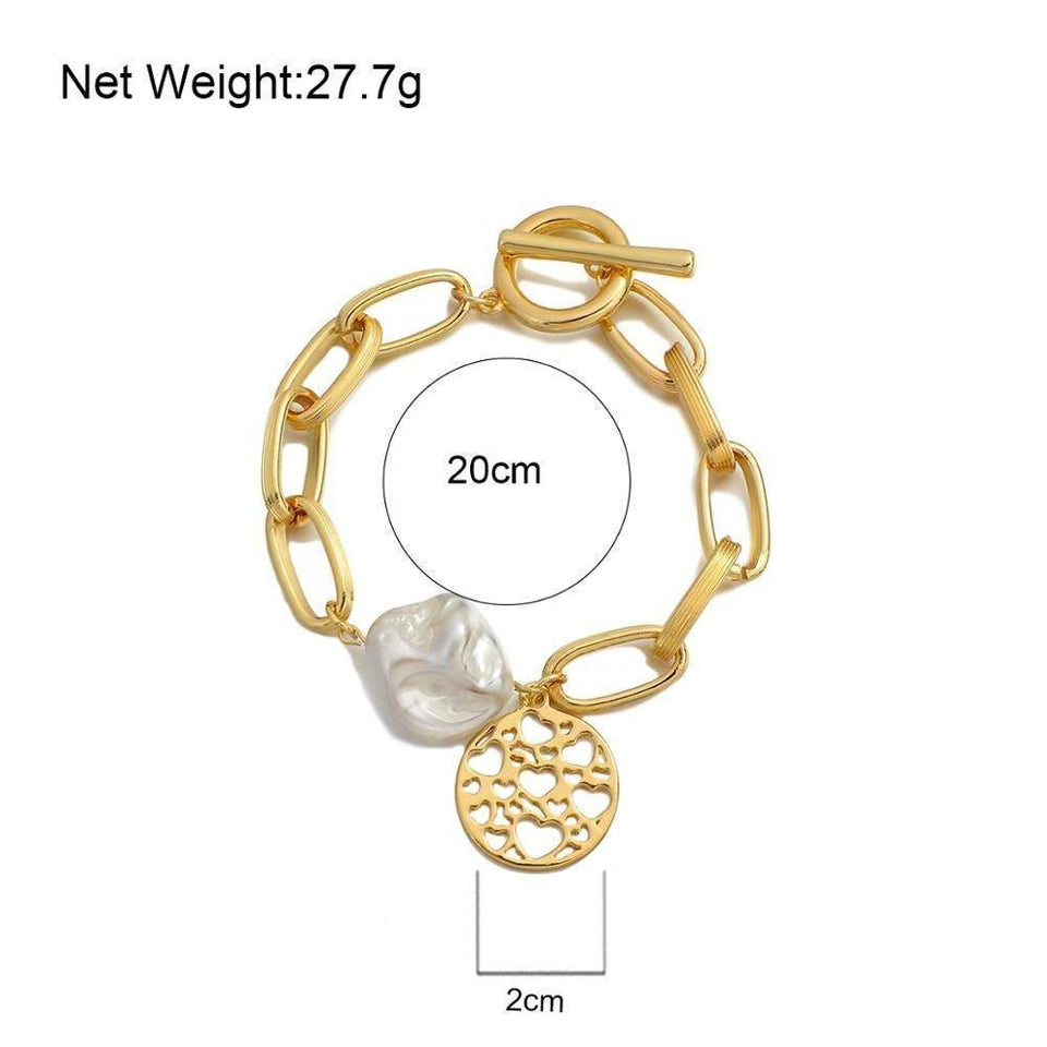 New Fashion Big Pearl Gold Color Chunky Thick  Love Heart Pattern Chains Bracelets for Women Valentine's Day Gift | Big, Bracelets, Chains, Chunky, Color, Day, Fashion, Flashbuy, for, Gift, Gold, Heart, Love, New, Pattern, Pearl, Thick, Valentines, Women | akolzol