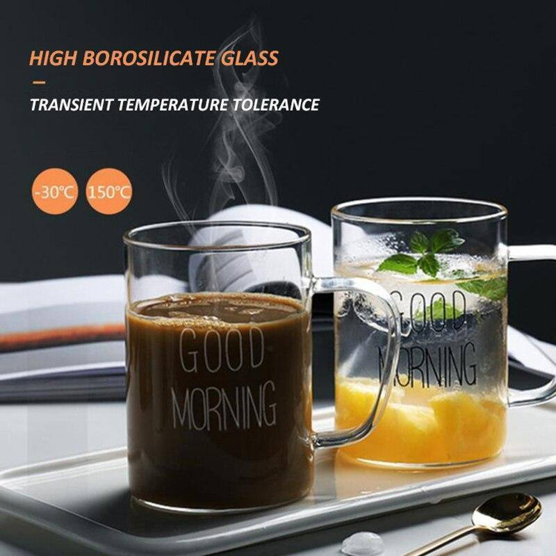 Good Morning Glass Water Bottle Heat-Resistant Juice Container Beverage Jugs Flower Tea Pot Milk Cups Home Bar Drinkware | akolzol