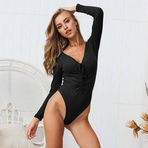 2020 Spring  Knitted Bodysuits Women Lace Up Long sleeve Sexy Bodysuits Slim Bodycon Jumpsuit Womens V-Neck Jumpsuit Ladies | 2020, Bodycon, Bodysuits, Jumpsuit, Knitted, Lace, Ladies, Long, Sexy, sleeve, Slim, Spring, Up, VNeck, Women, Womens | akolzol