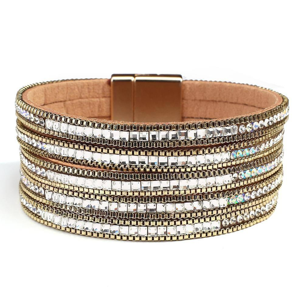 New Design Gold Color Leather Bracelet Women Shiny Rhinestone Multilayer Wrap Bangles Jewelry Accessories | Accessories, Bangles, Bracelet, Color, Design, Flashbuy, Gold, Jewelry, Leather, Multilayer, New, Rhinestone, Shiny, Women, Wrap | akolzol