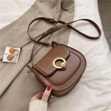 Luxury Solid Color Small PU Leather Saddle Bags For Women 2020 New Fashion Simple Crossbody Shoulder Bag Lady Travel Handbags | akolzol