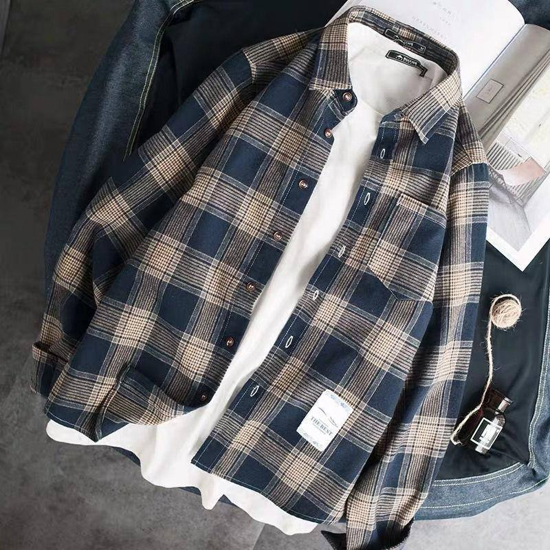 Spring and Autumn 2020 Men's shirts, lapels, long sleeves men's jackets and checked shirts | akolzol