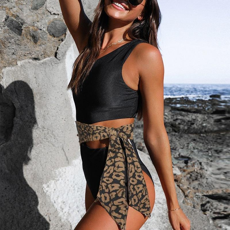 Leopard printed swimsuit solid One shoulder monokini High waist sexy one piece swimsuit Female bodysuit one-piece suit | akolzol