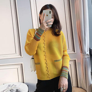 Chinese style blouse women 2020 autumn new pleated blouses print cardigan pearl button up Tunic plus size t-shirt | akolzol