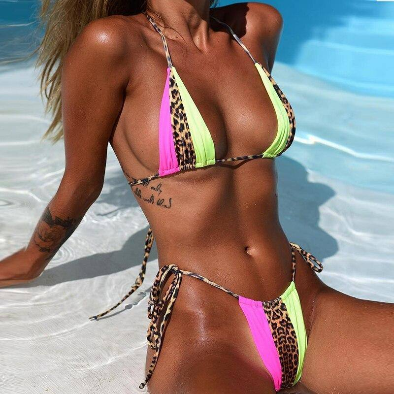 Triangle micro bikini set Sexy women's swimsuit solid Push up bandage swimwear Neon ruffles bikini 2020 NWE bathing suit | akolzol