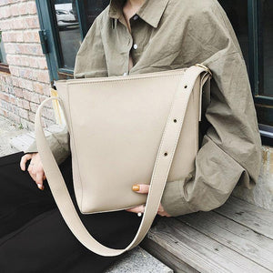 Fashion Pu Leather Bucket Bags for Women Winter Simple Solid Color Crossbody Shoulder Bags Casual Women's Handbag | akolzol