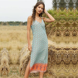 Summer Sexy Spaghetti Strap V Neck Dress Women 2021 New Print Sleeveless Bohemian Long Slim Sling Ladies Dresses | akolzol