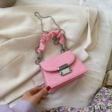 Fashion Chain Mini PU Leather Hand Bags For Women 2020 Summer New Solid Color Wild Crossbody Shoulder Bags Female Small Handbag | akolzol