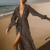 Gossamer beach wear Polka dot print bikini 2020 Sarong kaftan beach cover-ups female swimsuit Long beach dress kimono new (X20OW1393 One Size) | akolzol
