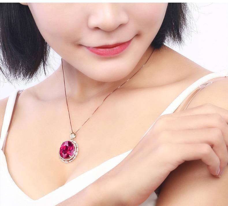 14K Rose Gold Necklace Natural Ruby with Cushion Zirconia Pendant for Women Collares Mujer with Diamond Necklaces Gemstone Women | 14, Collares, Cushion, Diamond, for, Gemstone, Gold, Mujer, Natural, Necklace, Necklaces, Pendant, Rose, Ruby, with, Women, Zirconia | akolzol