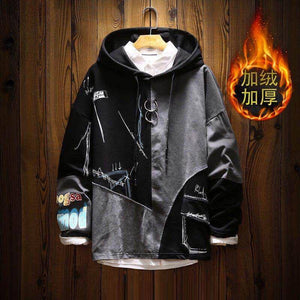 Patchwork Graffiti Hoodie Men Hip Hop Sweatshirts Hoodies Hooded Pullover Streetwear 2021 Men Casual Fashion Tops | akolzol