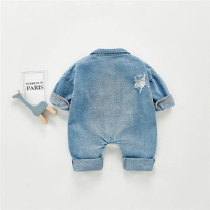 Spring Autumn Newborn Baby Boys Girls Romper Long Sleeve Denim Jumpsuit Infant Climbing Outfit Clothes Costume Fashion Clothing | akolzol
