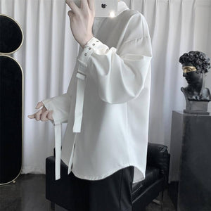 Black White Dress Shirt Men's Fashion Business Casual Shirt Men Streetwear Wild Loose British Style Long Sleeve Shirts Mens | akolzol