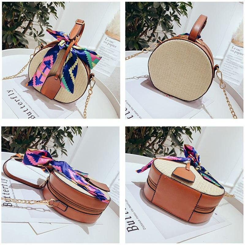 Fashion Round Straw Beach Crossbody Bags for Women Summer Small Female Weaving Shoulder Handbag Top-Handle Tote | akolzol