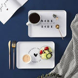 Plastic Storage Tray Food Fruit Plate Rectangular Household Simple Bread Breakfast Plate Cup Tea  Tray Home Dish Tableware | akolzol