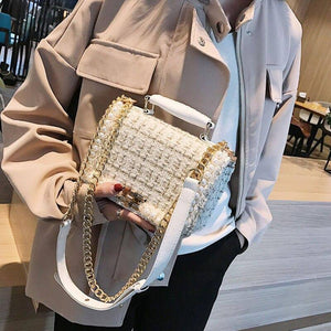 Beaded Chain Design Samll Crossbody Bags For Women 2020 Fashion Wild Solid Color Messenger Shoulder Bags Women's Flap Handbags | akolzol