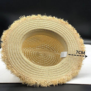 Women Natural Wide Brim Burr Raffia Straw Hats Fringe Women Plain Large Beach Summer Sun Caps Big Straw Cap chapeau 55-58cm | akolzol