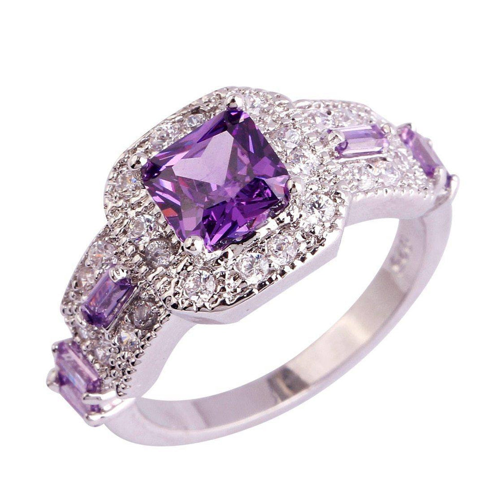 18K Dold Silver Princess Cut Purple sapphire rings Square Shape for Women Jewelry Engagement Ring Plus Size amethyst gemstones | akolzol