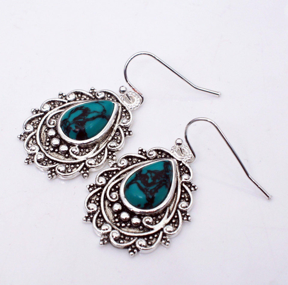 Turquoise Drop Earrings Brincos S925 Silver Color bijoux femme Kolczyki for Women Boucle Oreille Perle Drop Earring oorbellen (Silver) | 925, bijoux, Boucle, Brincos, Color, Drop, Earring, Earrings, femme, for, Kolczyki, oorbellen, Oreille, Perle, Silver, Turquoise, Women | akolzol