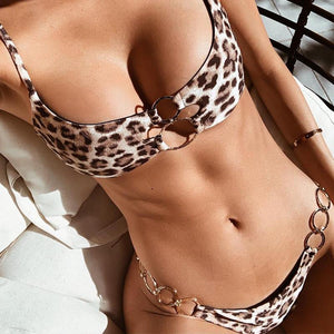Bandeau top swimsuit female Hollow out swimwear women bathers Leopard print bikinis 2019 mujer Two-piece suit new biquini | akolzol