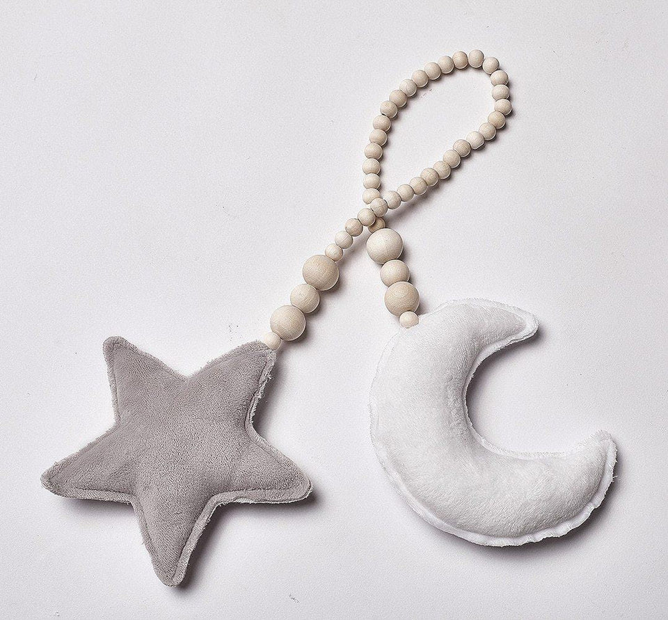 Nordic Style Moon Star Wood Beads Decorated Baby Bed In Children's Room Tent Decor Ornaments Photography Props Wall Hanging Toy | akolzol