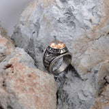 High-Grade Zircon Titanium Steel Charm Men Ring 316L Mustard | akolzol