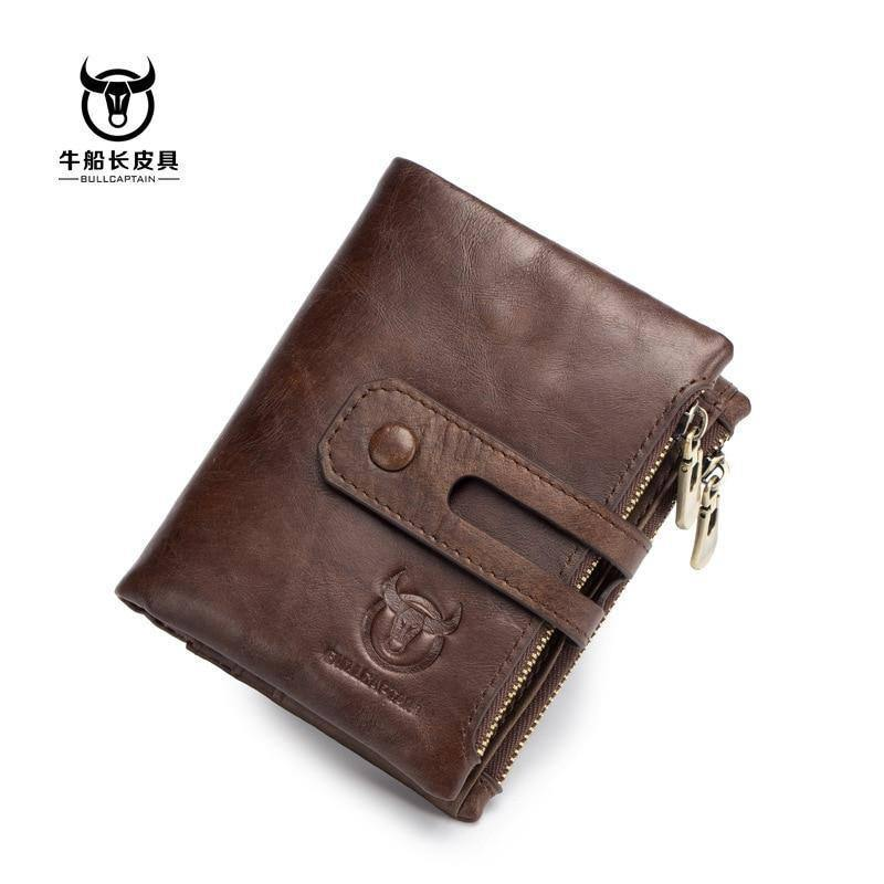 Genuine Leather Men's Wallet Tri-bifold Wallet Purse Hasp Design Small Mens Wallets Zipper Coin Pocket Functional Small Wallets | Coin, Design, Functional, Genuine, Hasp, Leather, Mens, Pocket, Purse, Small, Tribifold, Wallet, Wallets, Zipper | akolzol