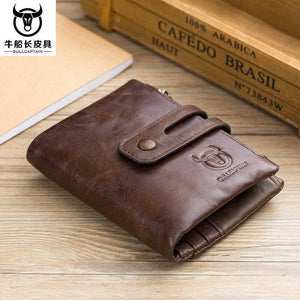 Genuine Leather Men's Wallet Tri-bifold Wallet Purse Hasp Design Small Mens Wallets Zipper Coin Pocket Functional Small Wallets | akolzol