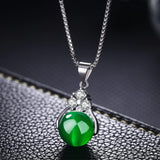 Vintage Crystal Emerald Pendant Jade Neckalce Blue Green Round 925 Color Pendant Necklace for Women Men Stone Jewelry Party Gift (green) | akolzol