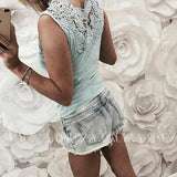 2019 New Summer Women Sleeveless Top White Light Blue Sexy Lace Hollow Slim Blouses Shirt Lady V-neck Casual Shirt Clothes | 2019, Blouses, Blue, Casual, Clothes, Hollow, Lace, Lady, Light, New, Sexy, Shirt, Sleeveless, Slim, Summer, Top, Vneck, White, Women | akolzol