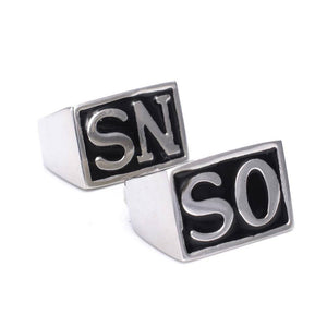 "New 2Pcs ""SONS"" fashion stainless steel men's rings Size US7-15 