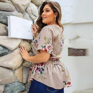 2021 Summer Plus Size Blouse Women Elegant Boho Floral Blouse Shirt Women V-neck Short Sleeve Oversized Blouse Ladies 3XL 4XL | akolzol