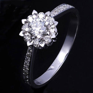 14K Gold 2 Carat Diamond Ring Pulseras anillo white topaz bizuteria Gemstone sliver Color 925 ring with box jewelry for women | akolzol