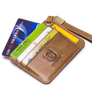New Vinage Genuine Leather Credit Card&ID Card Holder Wallet Business Bank Card Bag Case Coin Purse Unisex Men&Women 9 pockets | akolzol