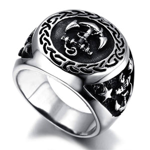 Men's Navy Anchor Nautical Sailor Black Silver color 316L Stainless Steel Biker Ring | akolzol