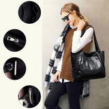 Vintage Large Capacity Pu Leather Shoulder Bags for Women Fashion Solid Color Black Handbags Female Casual Big Tote (Black) | akolzol