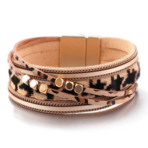 Leopard Leather Bangles For Women Fashion Metal Beads Multilayer Magnetic Warp Bracelets Party Jewelry Wholesale | akolzol