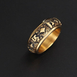 Gold Mantra rotatable ring men titanium steel tide retro domineering personality single index finger ring with jewelry | akolzol
