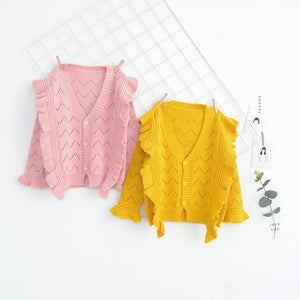 Babyinstar Baby Girls Cardigan 2018 Hollow Ruffles Design Sweater Toddler Children Casual Clothes Kids Long Sleeve Costume | akolzol