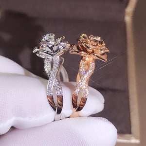 14K Rose Gold Peridot Diamond Ring Rose Flower Shape Engagement Gemstone Bizuteria Anillos 925 silver Jewelry Ring for women | akolzol