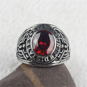 Red CZ Crystal Men's Stainless Steel United States Military Army Ring | akolzol