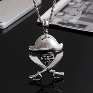 European and American stainless steel  Men's jewelry Domineering pirate skull double knife pendant | akolzol