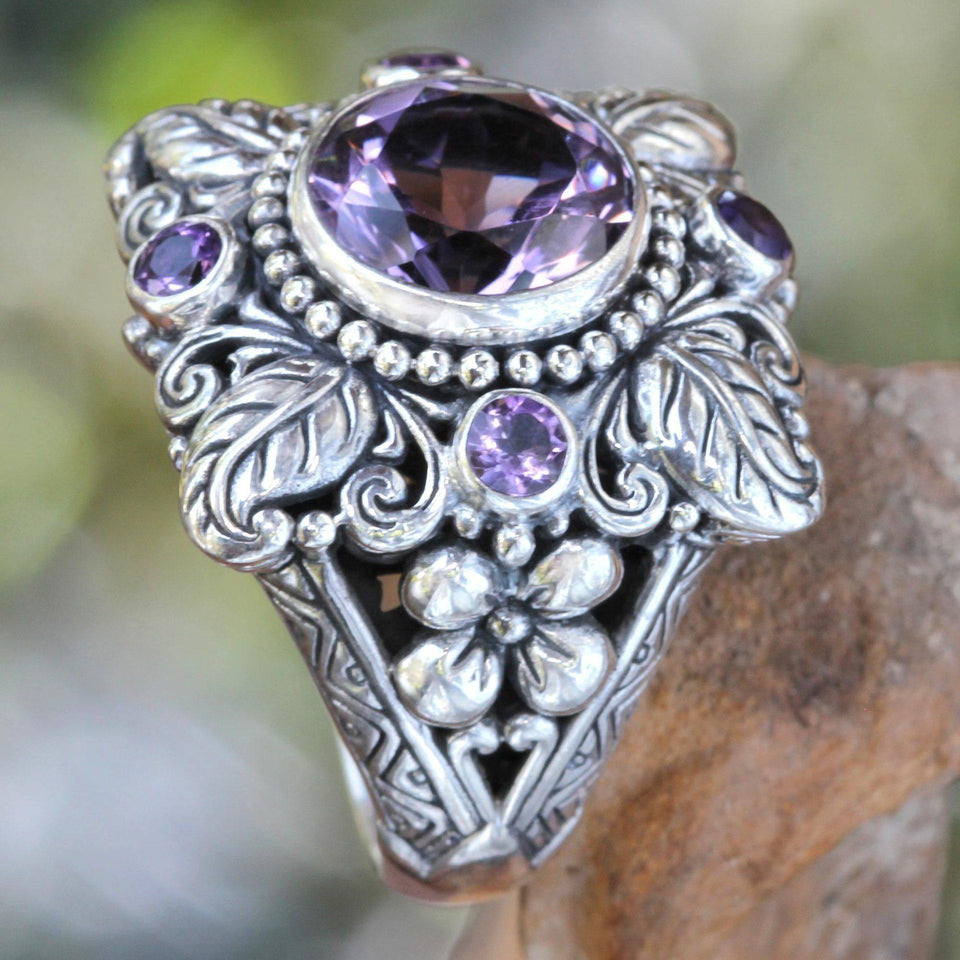 Pure Amethyst Ring 925 Silver Leaves Flower Ring for Women Anillos De Bague Etoile silver 925 jewelry Bizuteria Ring for women | akolzol